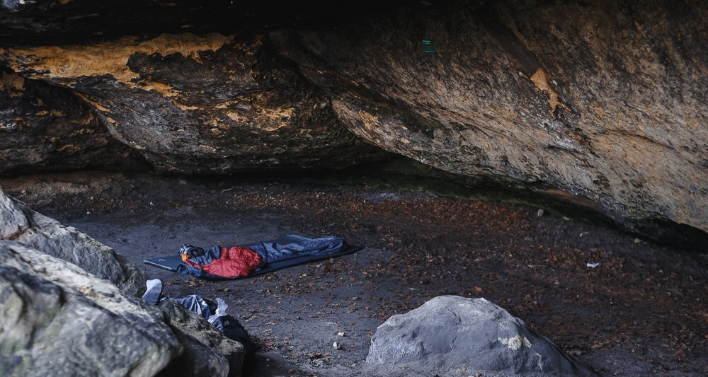 Boofe mit Schlafsäcken