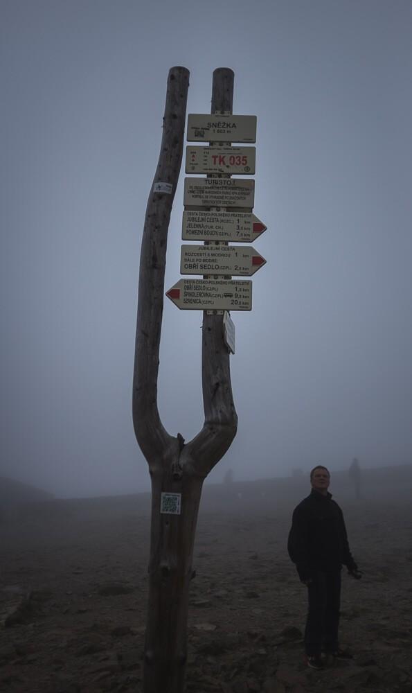 Gipfelmarkierung der Schneekoppe
