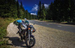 Motorrad auf dem Berg Rogla