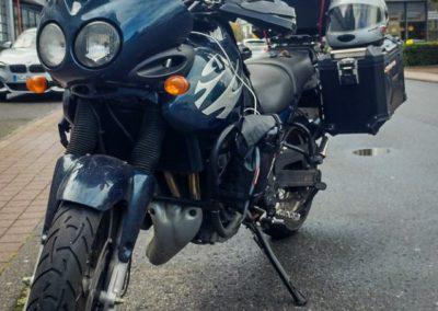 Tiger vor Kohl Motorrad