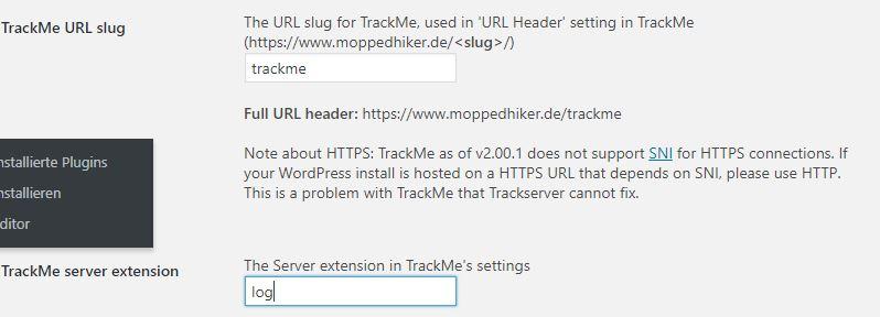TrackMe in Trackserver einrichten
