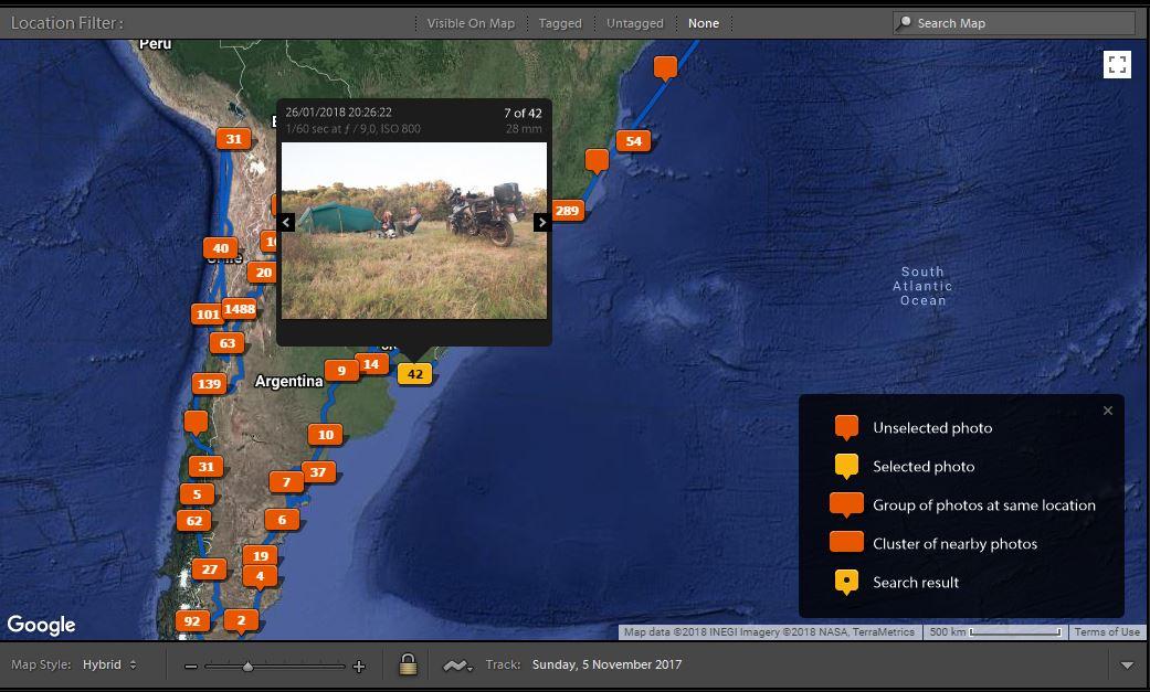 Das Adobe Lightroom Karten Modul mit importiertem GPS Track