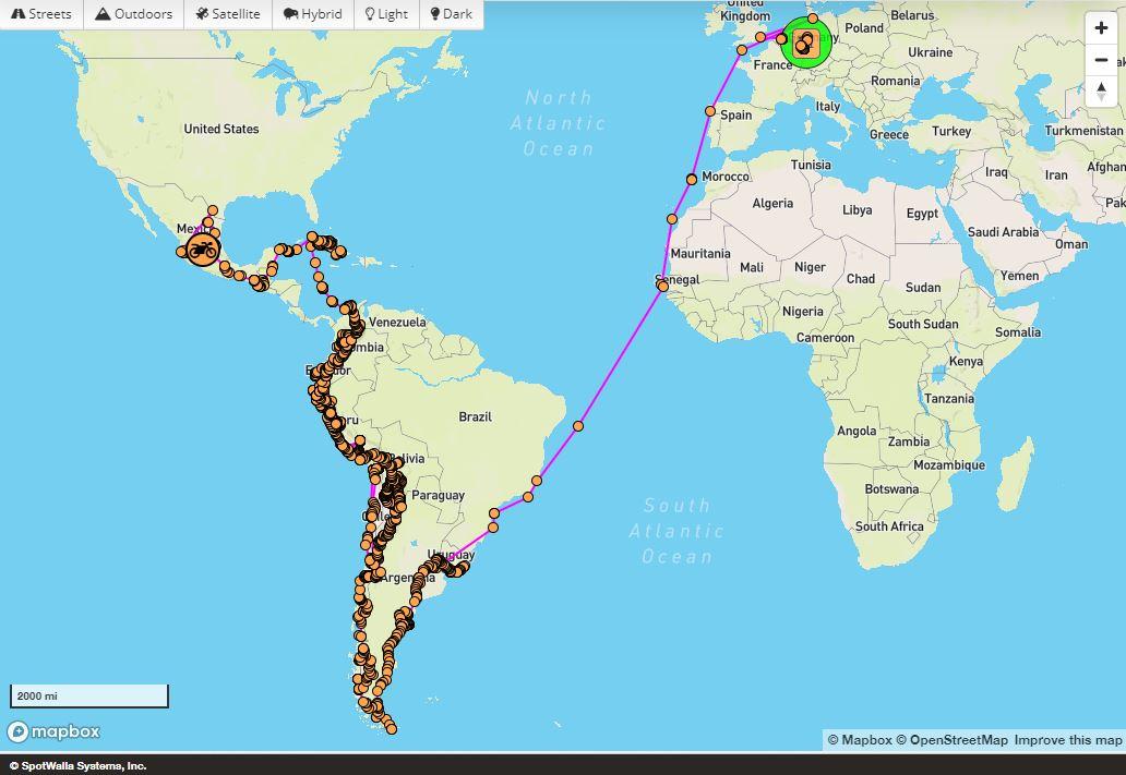 Spotwalla Weltkarte mit Route